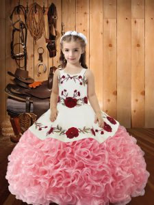 Pink Ball Gowns Straps Sleeveless Fabric With Rolling Flowers Lace Up Embroidery and Ruffles Kids Formal Wear