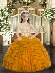 Fashion Straps Sleeveless Tulle Kids Pageant Dress Beading and Ruffles Lace Up