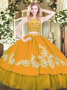 Custom Fit Gold Ball Gown Prom Dress Military Ball and Sweet 16 and Quinceanera with Beading and Appliques Scoop Sleeveless Zipper