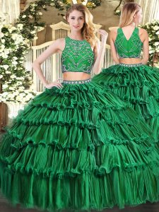 Eye-catching High-neck Sleeveless Tulle Quinceanera Dresses Beading and Appliques and Ruffled Layers Zipper