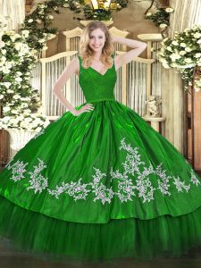 Green Taffeta Zipper 15th Birthday Dress Sleeveless Floor Length Beading and Appliques