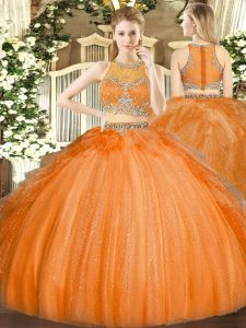 Edgy Orange Two Pieces Beading Quince Ball Gowns Zipper Tulle Sleeveless Floor Length