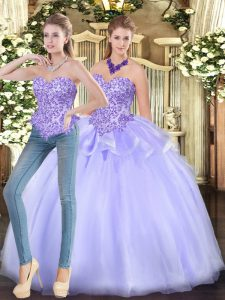 Organza Sleeveless Floor Length Quince Ball Gowns and Appliques