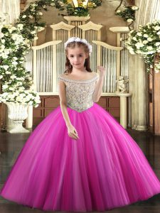 Fuchsia High School Pageant Dress Party and Sweet 16 and Quinceanera and Wedding Party with Beading Off The Shoulder Sleeveless Lace Up