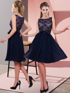 Suitable Navy Blue Scoop Neckline Lace and Bowknot Dress for Prom Sleeveless Side Zipper
