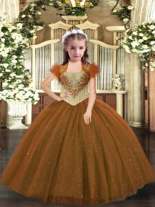 Popular Sleeveless Floor Length Beading Lace Up Pageant Dress for Teens with Brown