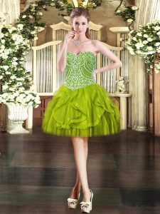 Sumptuous Ball Gowns Prom Party Dress Olive Green Sweetheart Tulle Sleeveless Mini Length Lace Up
