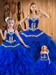 Fine Tulle Sweetheart Sleeveless Lace Up Embroidery and Ruffles Quinceanera Dress in Royal Blue