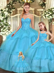 Vintage Aqua Blue Ball Gowns Organza Sweetheart Sleeveless Beading and Ruffled Layers Floor Length Lace Up 15th Birthday Dress