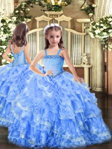 Graceful Appliques and Ruffled Layers Little Girl Pageant Dress Baby Blue Lace Up Sleeveless Floor Length