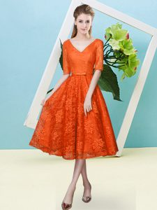 Orange Red Lace Lace Up Quinceanera Court Dresses Half Sleeves Tea Length Bowknot