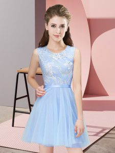 Custom Made Sleeveless Mini Length Lace Side Zipper Court Dresses for Sweet 16 with Light Blue