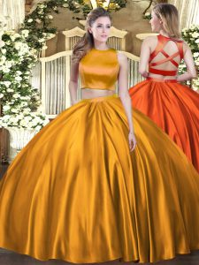 Orange Vestidos de Quinceanera Military Ball and Sweet 16 and Quinceanera with Ruching High-neck Sleeveless Criss Cross