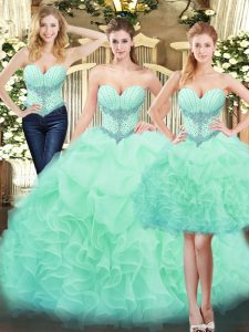Spectacular Floor Length Lace Up Quinceanera Dress Apple Green for Military Ball and Sweet 16 and Quinceanera with Beading and Ruffles