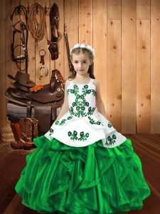 Trendy Dark Green Sleeveless Floor Length Embroidery and Ruffles Lace Up Winning Pageant Gowns