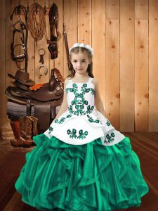 Customized Turquoise Organza Lace Up Glitz Pageant Dress Sleeveless Floor Length Embroidery and Ruffles