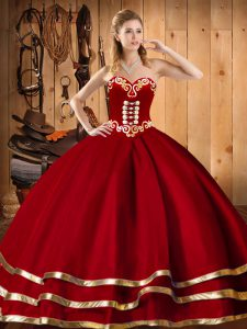 Chic Floor Length Red Quinceanera Dresses Sweetheart Sleeveless Lace Up