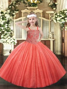 Coral Red Tulle Lace Up Pageant Dresses Sleeveless Floor Length Beading