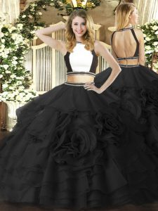 Unique Floor Length Two Pieces Sleeveless Black Sweet 16 Dress Zipper