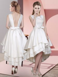 Scoop Sleeveless Lace Up Court Dresses for Sweet 16 White Satin