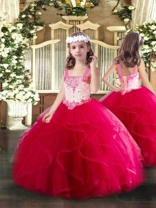 High Quality Hot Pink Tulle Lace Up Straps Sleeveless Floor Length High School Pageant Dress Beading and Ruffles