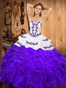 Fabulous White And Purple Satin and Organza Lace Up Party Dress for Girls Sleeveless Floor Length Embroidery and Ruffles
