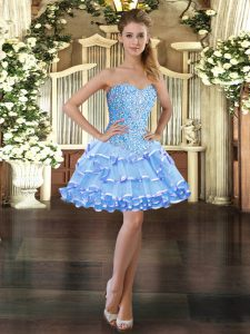 Pretty Light Blue Prom Dresses Prom and Party with Beading and Ruffled Layers Sweetheart Sleeveless Lace Up