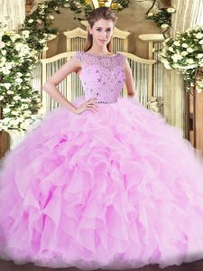 Fashionable Lilac Ball Gowns Bateau Sleeveless Tulle Floor Length Zipper Beading and Ruffles Vestidos de Quinceanera
