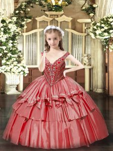 Ball Gowns Little Girl Pageant Dress Coral Red V-neck Organza Sleeveless Floor Length Lace Up