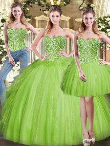 Exceptional Sleeveless Organza Floor Length Lace Up 15 Quinceanera Dress in with Beading and Ruffles