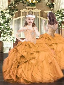Luxurious Off The Shoulder Sleeveless Organza Little Girl Pageant Gowns Beading and Ruffles Lace Up