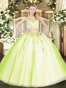 Yellow Green Sleeveless Tulle Zipper Vestidos de Quinceanera for Military Ball and Sweet 16 and Quinceanera