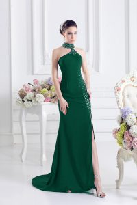 Dark Green Evening Dress Prom and Party with Beading Halter Top Sleeveless Sweep Train Lace Up