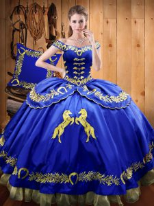 Sleeveless Satin and Organza Floor Length Lace Up 15 Quinceanera Dress in Royal Blue with Beading and Embroidery