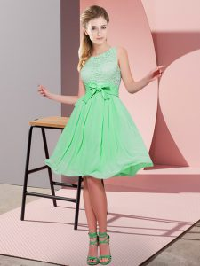 Knee Length Side Zipper Quinceanera Court of Honor Dress Apple Green for Prom and Party with Lace and Bowknot