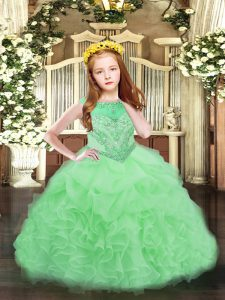 Exquisite Apple Green Organza Zipper Pageant Gowns For Girls Sleeveless Floor Length Beading and Ruffles and Pick Ups