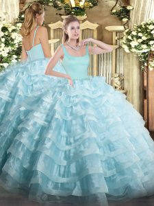 Deluxe Light Blue Zipper Sweet 16 Quinceanera Dress Beading and Ruffled Layers Sleeveless Floor Length