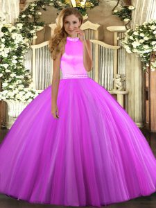 Dramatic Rose Pink and Lilac Sleeveless Beading Floor Length 15 Quinceanera Dress