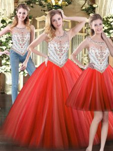 Coral Red Tulle Zipper Scoop Sleeveless Floor Length 15 Quinceanera Dress Beading
