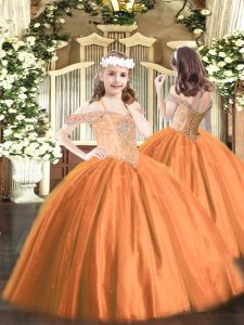 Floor Length Rust Red Pageant Gowns For Girls Tulle Sleeveless Beading