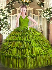 Free and Easy V-neck Sleeveless Organza Quinceanera Dress Ruffled Layers Zipper