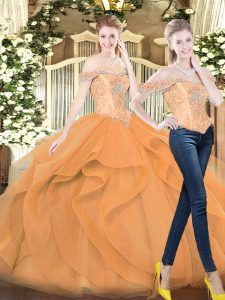 Orange Red Sleeveless Floor Length Beading and Ruffles Lace Up Quinceanera Gown