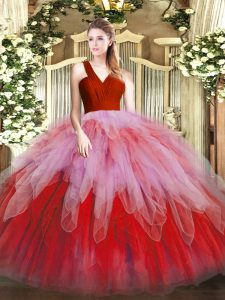 Wonderful Floor Length Multi-color Sweet 16 Dress Organza Sleeveless Ruffles