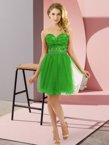 Low Price Mini Length Green Evening Dress Tulle Sleeveless Beading