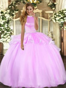 Floor Length Backless Sweet 16 Dresses Lilac for Military Ball and Sweet 16 and Quinceanera with Beading and Ruffles