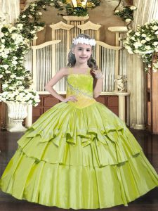Enchanting Sleeveless Beading and Ruffled Layers Lace Up Pageant Gowns For Girls