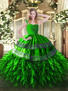 Lovely Green Ball Gowns Straps Sleeveless Organza Floor Length Zipper Beading and Lace and Ruffles Sweet 16 Dresses