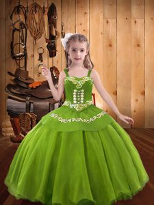 Low Price Embroidery Child Pageant Dress Olive Green Lace Up Sleeveless Floor Length