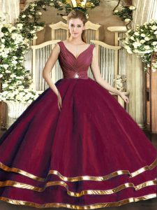 V-neck Sleeveless Ball Gown Prom Dress Floor Length Beading and Ruffled Layers and Ruching Burgundy Tulle