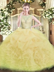 Champagne Backless Quinceanera Dress Lace and Ruffles Sleeveless Floor Length